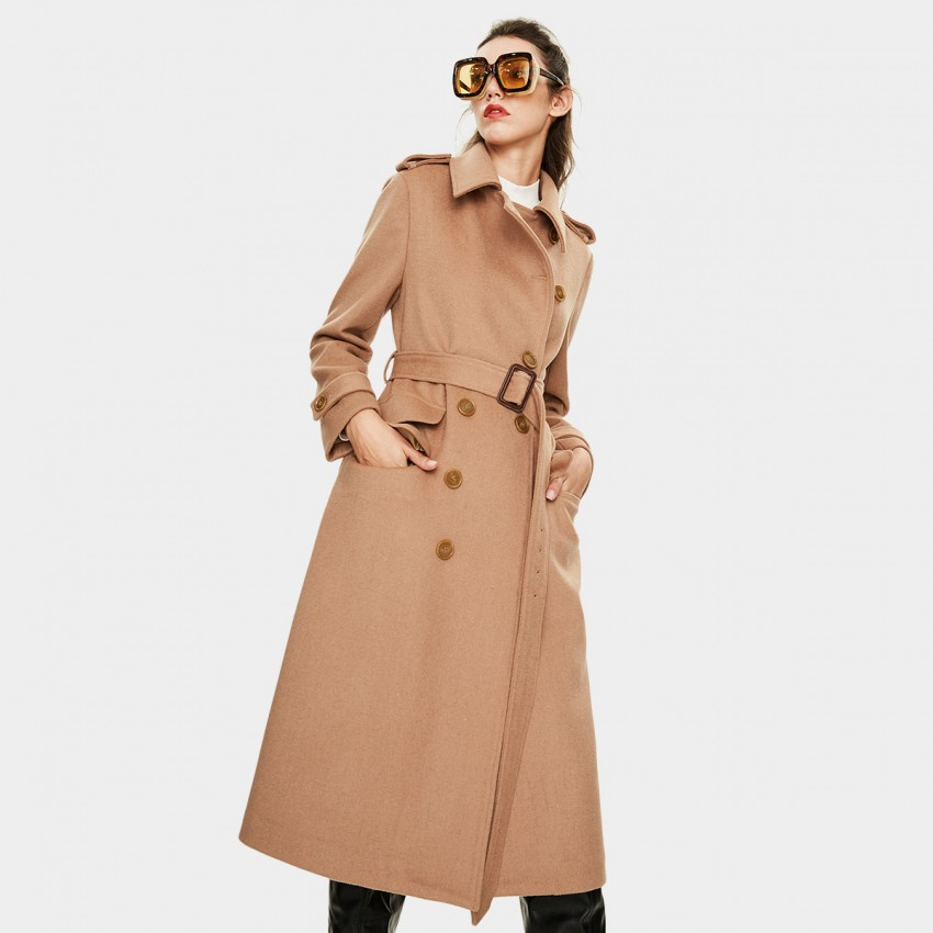 Jazzevar Asymmetrical Button Camel Wool Coat (K9066)