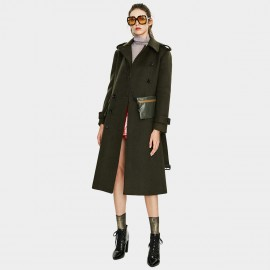 Jazzevar Asymmetrical Button Green Wool Coat (K9066)