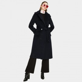 Jazzevar Asymmetrical Button Navy Wool Coat (K9066)