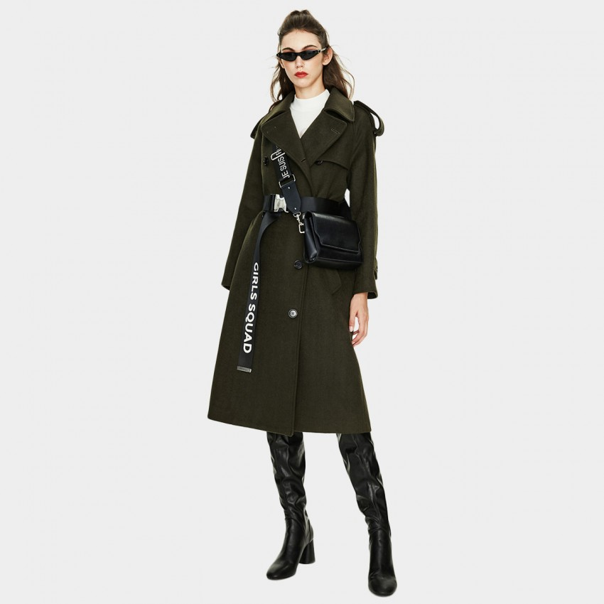 Jazzevar Longline Green Wool Coat (K9069)