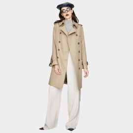 Jazzevar Silk Shine Camel Trench Coat (YA7001)