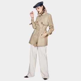 Jazzevar Silk Shine Short Camel Trench Coat (YA7003)