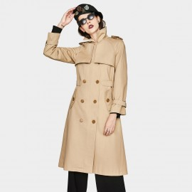 Jazzevar Camel Storm Flap Front Trench Coat (YA7006)