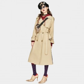 Jazzevar Camel Storm Flap Back Trench Coat (YA7007)
