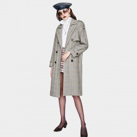 Jazzevar Checked Grey Trench Coat (YA7015)