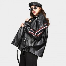 Jazzevar Striped Biker Black Faux Leather Jacket (YA7018)