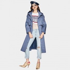 Jazzevar Rainy Day Hooded Blue Trench Coat (YA7027)