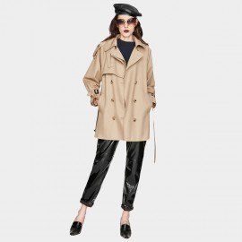 Jazzevar Covert Short Camel Trench Coat (YA7028)