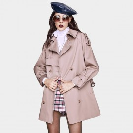 Jazzevar Covert Short Lavender Trench Coat (YA7028)