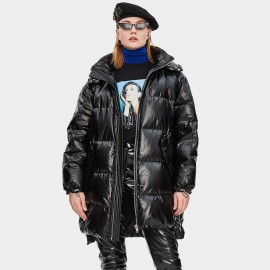 Jazzevar Futuristic Hooded Black Down Jacket (YA8001)