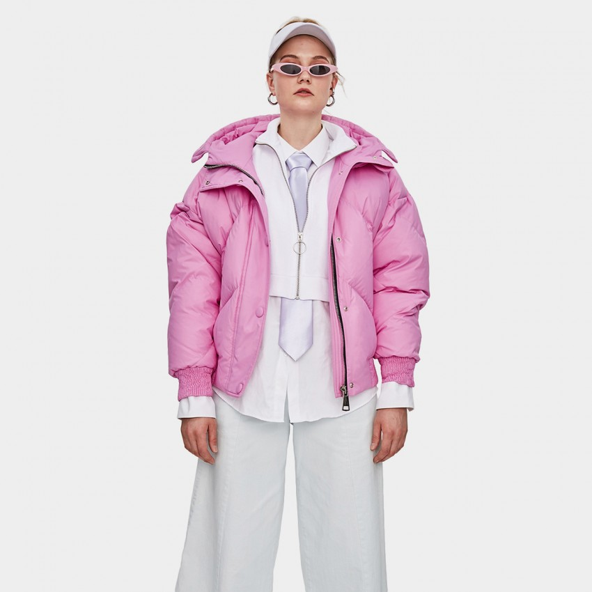 Jazzevar Short Puffy Hooded Pink Down Jacket (YA8007)