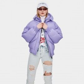 Jazzevar Short Puffy Hooded Purple Down Jacket (YA8007)
