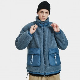 Defend Ciao Fleece High Neck Collar Blue Jacket (DCY-1967)