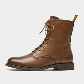 Beau Classic Lace Up Brown Boots (02012)