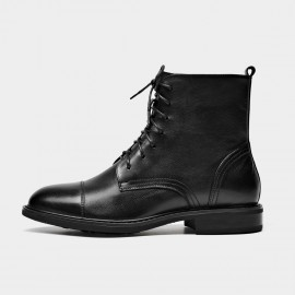Beau Patch Stich Lace Up Black Boots (03611)