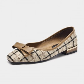 Beau Check Me Out Brown Ballet Flats (28023)