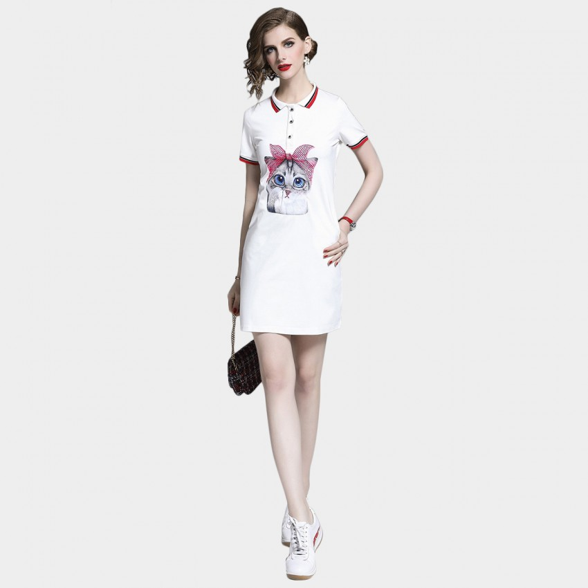 D&R White Cat Emblem Polo Dress (6470)