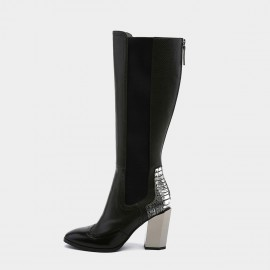 Jady Rose Sleek Form Black Knee-High Boots (19DR10670)