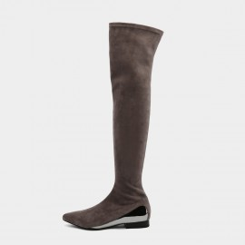Jady Rose Straight Talker Khaki Knee-High Boots (19DR10671)