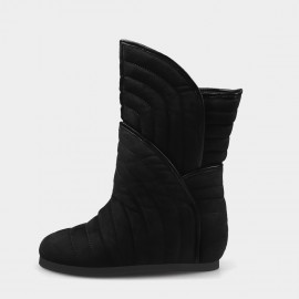 Jady Rose Ribbed Padding Black Boots (19DR10674)