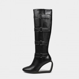 Jady Rose Strap Yourself In Black Knee-High Boots (19DR10675)