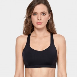 CRZ Yoga Thick Strap Cross Back Black Bra (H164)