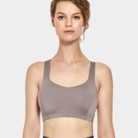 CRZ Yoga Thick Strap Cross Back Khaki Bra (H164)