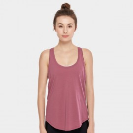 CRZ Yoga Lightweight Cross Back Burgundy Singlet Top (R744)