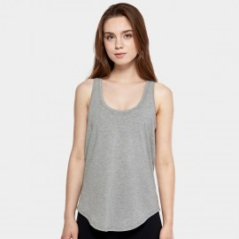 CRZ Yoga Lightweight Cross Back Grey Singlet Top (R744)