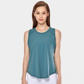 CRZ Yoga Breathable Mesh Back Sleeveless Cyan Top (R752)