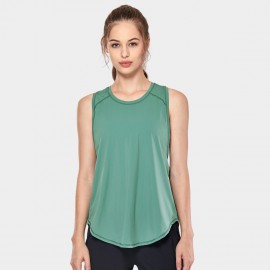 CRZ Yoga Breathable Mesh Back Sleeveless Green Top (R752)