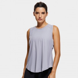 CRZ Yoga Breathable Mesh Back Sleeveless Grey Top (R752)