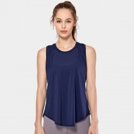 CRZ Yoga Breathable Mesh Back Sleeveless Navy Top (R752)