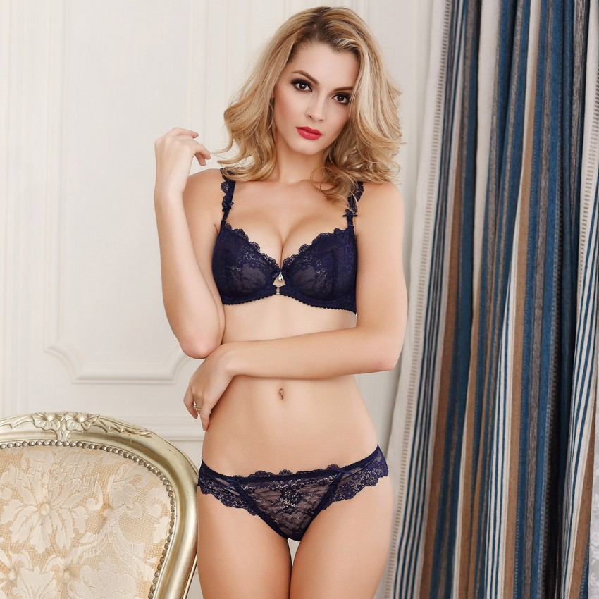 Lovevirl Uncover Sheer Lace Navy Lingerie Set (9168)
