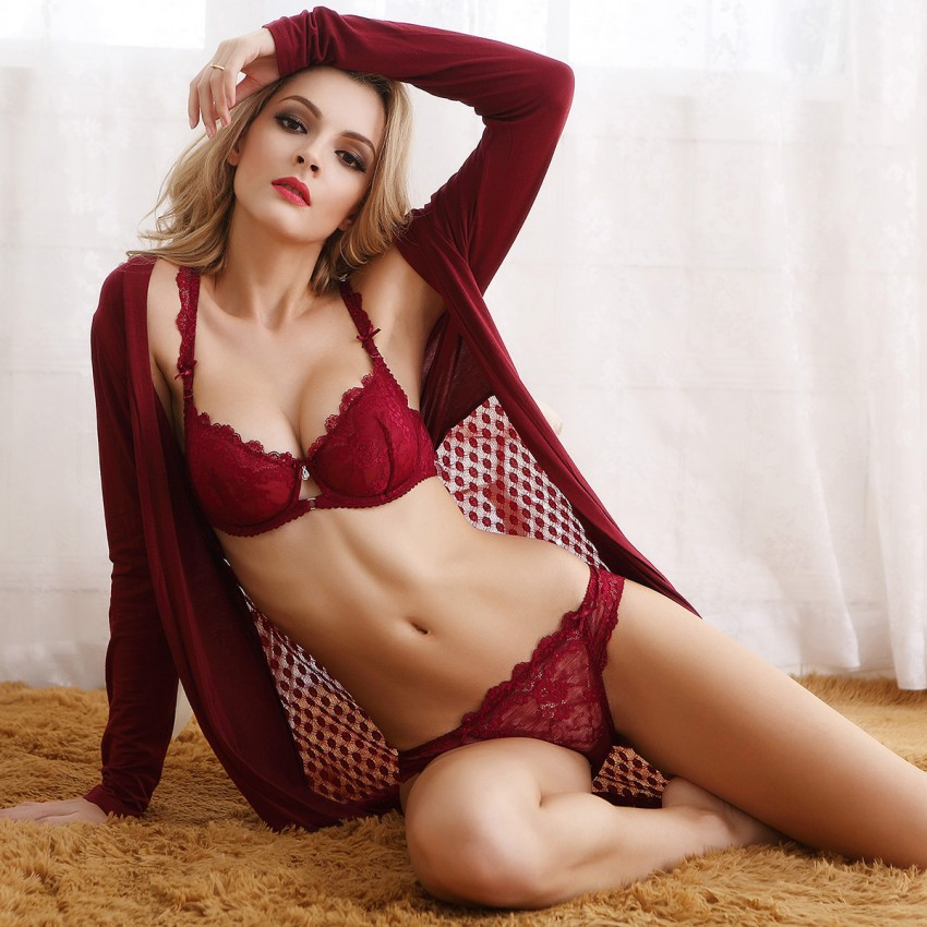Lovevirl Uncover Sheer Lace Red Lingerie Set (9168)