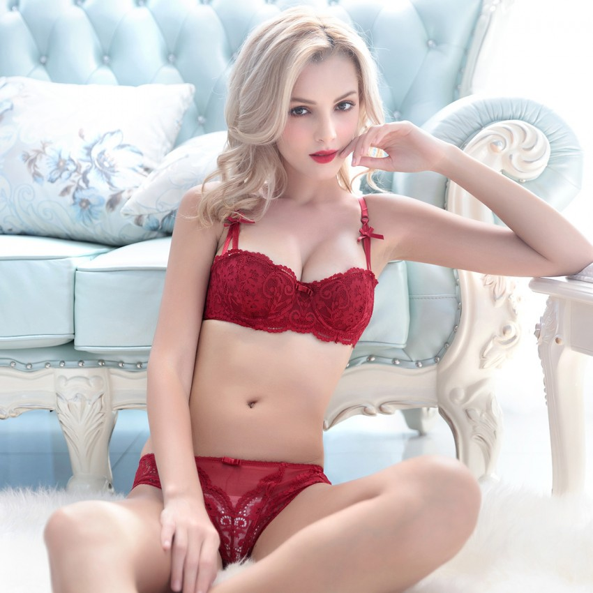 Lovevirl Enhance Sheer Lace Red Lingerie Set (9177)
