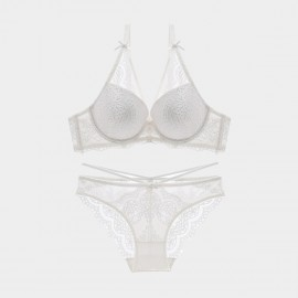 Lovevirl Plunge Lace and Strap Detail White Lingerie Set (9217)
