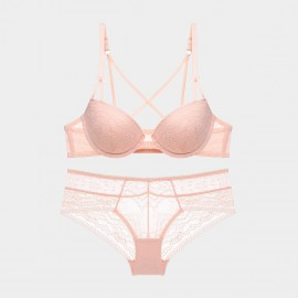 Lovevirl Cross Strap Back Detail Front Closure Pink Lingerie Set (9219)