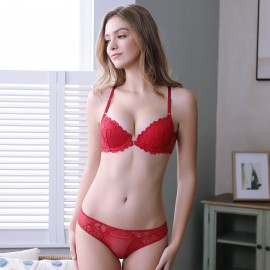 Lovevirl Racerback Floral Lace Red Lingerie Set (9223)
