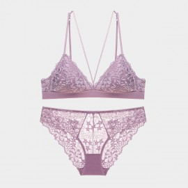 Lovevirl Lace Sheer V Line Cut Out Lilac Lingerie Set (9232)