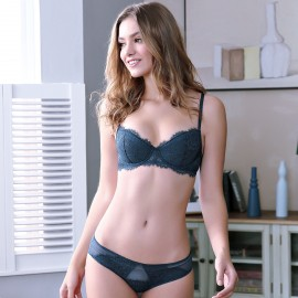 Lovevirl Frilled Lace Navy Lingerie Set (9238)