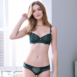 Lovevirl For The Frill Of It Bow Strap Green Lingerie Set (9239)