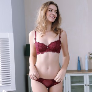 Lovevirl For The Frill Of It Bow Strap Wine Lingerie Set (9239)