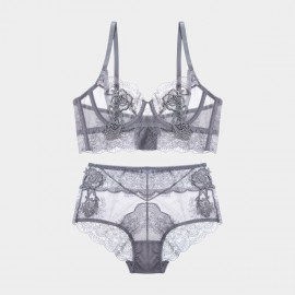Lovevirl Charm Me With Lace Grey Lingerie Set (16705)