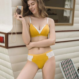 Lovevirl Victorian-Inspired Lace Yellow Lingerie Set (BL039)