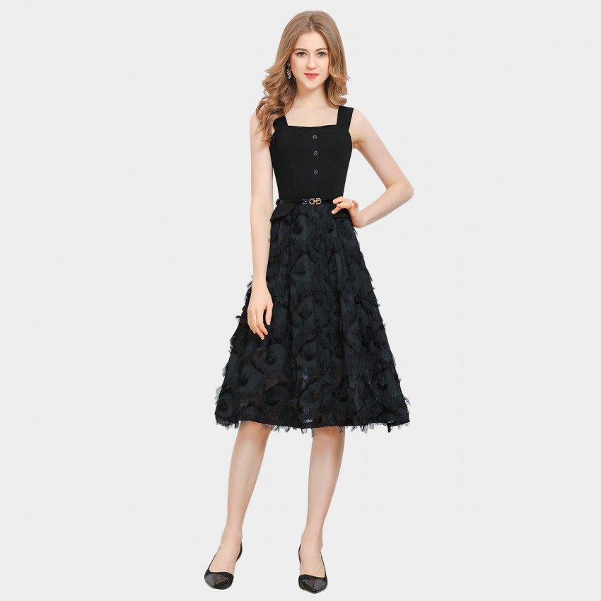 SSXR High-Waisted Embellished Black Dress (5630)