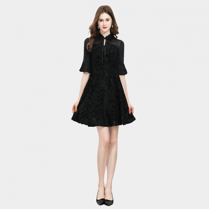 SSXR Pan Collar Black Dress (5636)