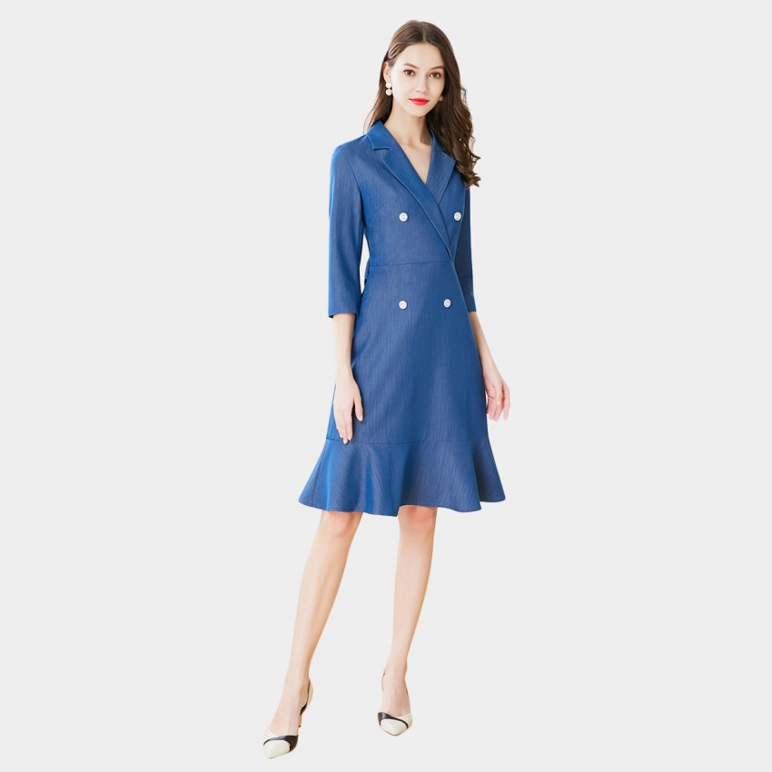 SSXR Asymmetrical Trench Blue Dress (5661)