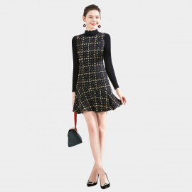 SSXR High-Neck Tunic-Style Black Dress (5674)