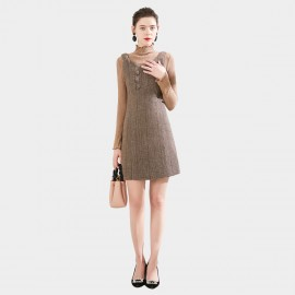 SSXR Wool Pinafore Coffee Dress (5676)